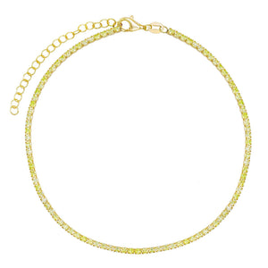 Pastel Tennis Anklet Apple Green - Adina's Jewels