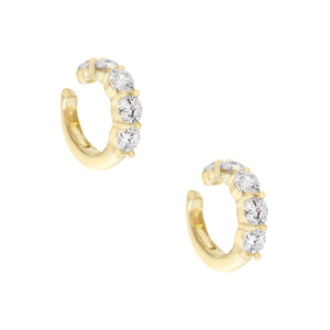 Gold / Pair CZ Round Stone Ear Cuff - Adina's Jewels