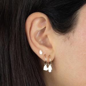 Solid Hamsa Hoop Earring 14K - Adina's Jewels