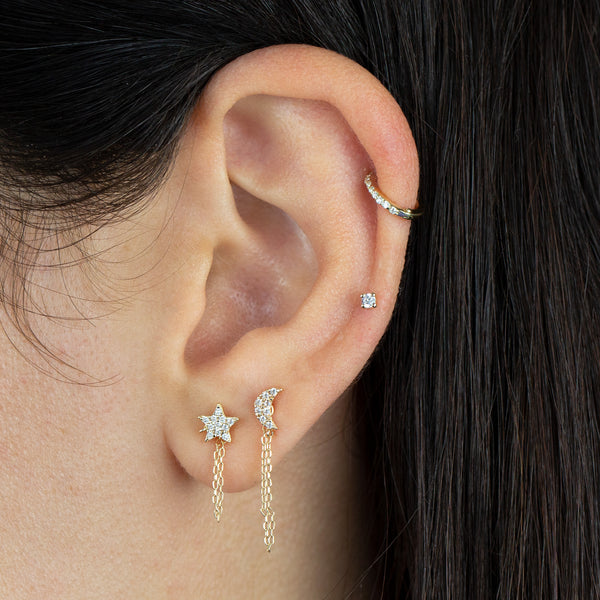 CZ Star Chain Stud Earring 14K - Adina's Jewels
