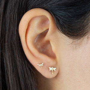 Dragonfly Threaded Stud Earring 14K - Adina's Jewels