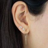 CZ Flower Threader Stud Earring 14K - Adina's Jewels