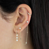 Diamond Bezel Drop Huggie Earring 14K - Adina's Jewels