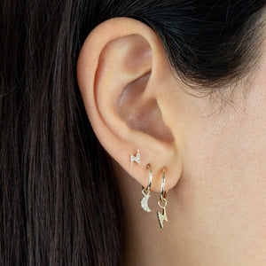 CZ Lightning Stud Earring 14K - Adina's Jewels