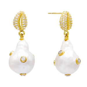 Pearl Shell Stud Earring Pearl White - Adina's Jewels