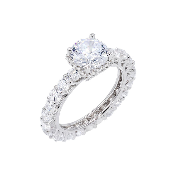 Silver / 8 CZ Solitaire Eternity Ring - Adina's Jewels