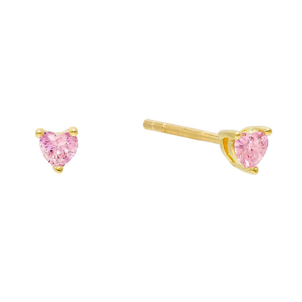 Light Pink CZ Heart Stud Earring - Adina's Jewels