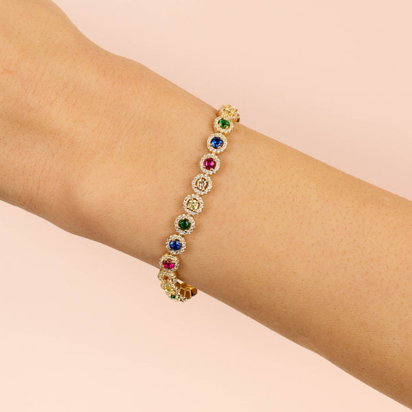 CZ Halo Multi-Color Bracelet - Adina's Jewels