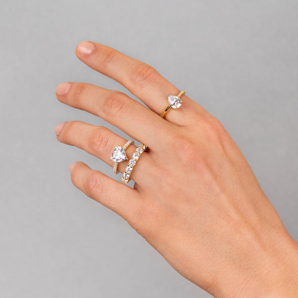 CZ Dainty Teardrop Ring - Adina's Jewels