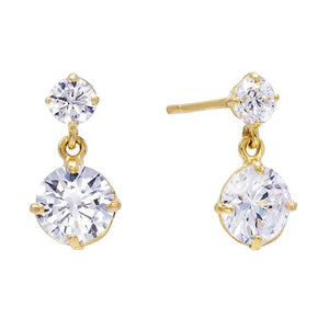 14K Gold Solitaire Dangling Stud Earring 14K - Adina's Jewels