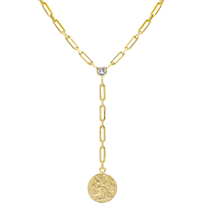 Gold Vintage Coin Lariat - Adina's Jewels