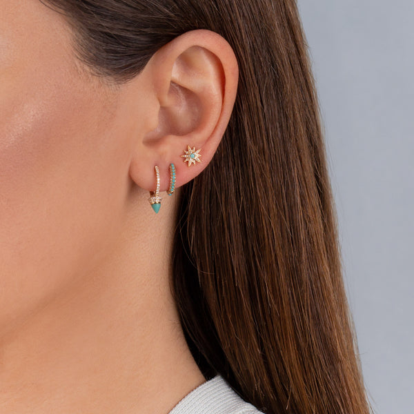 Diamond Turquoise Huggie Earring 14K - Adina's Jewels
