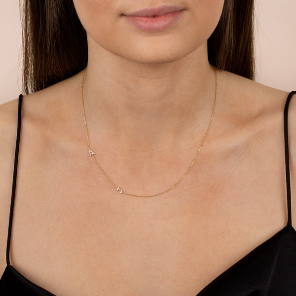 Pavé Double Initial Necklace - Adina's Jewels