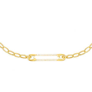 Pavé Safety Pin Choker Gold - Adina's Jewels