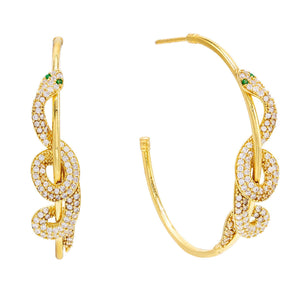 Gold Twisted Snake Hoop Earring - Adina's Jewels