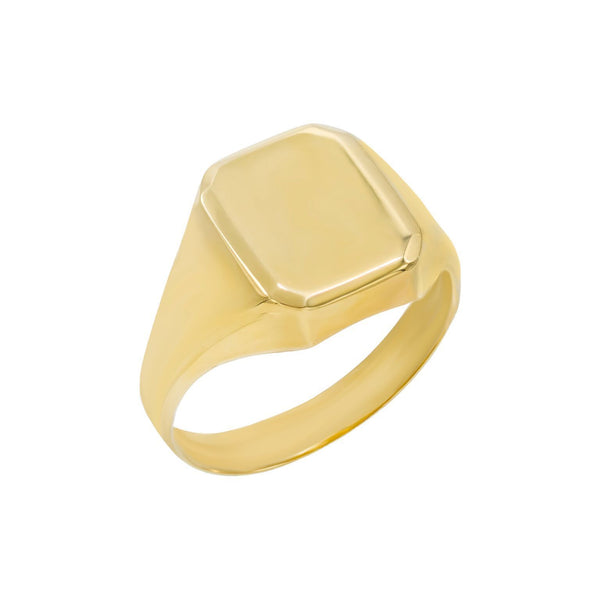 14K Gold / 8 / Plain Engraved Rectangle Signet Ring 14K - Adina's Jewels