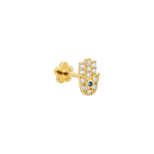 Sapphire Blue / Single Hamsa Threaded Stud Earring 14K - Adina's Jewels