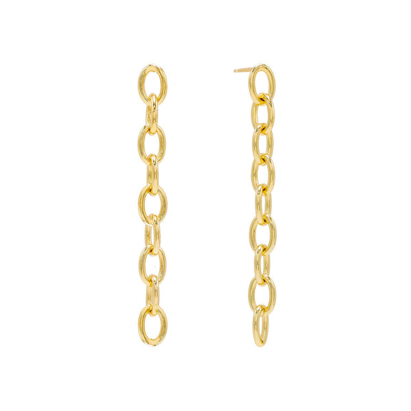 Gold Long Chain Drop Stud Earring - Adina's Jewels