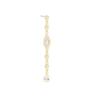 CZ Evil Eye Chain Drop Earring Gold - Adina's Jewels