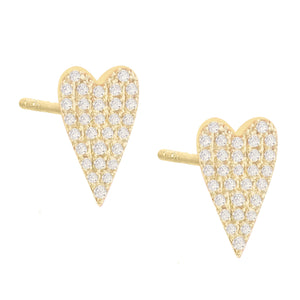 14K Gold / Pair Diamond Long Heart Stud Earring 14K - Adina's Jewels