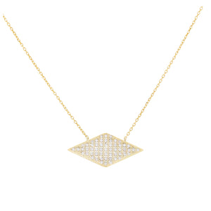 Pavé Diamond Shape Necklace Gold - Adina's Jewels