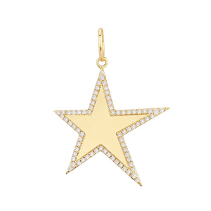 Diamond X Solid Star Charm 14K 14K Gold - Adina's Jewels