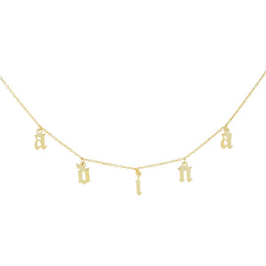 14K Gold / 1-7 Gothic Name Choker 14K - Adina's Jewels