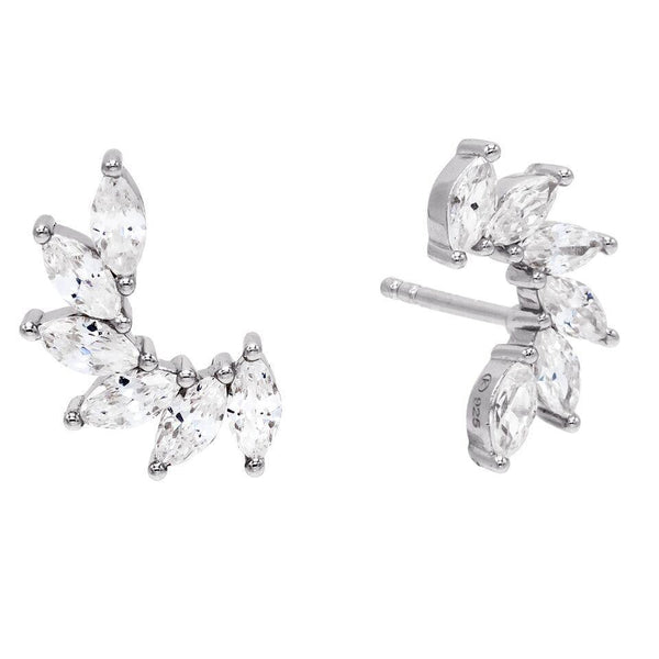 Silver Marquis Stud Earring - Adina's Jewels
