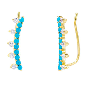 Colored Spiked Ear Climber Turquoise - Adina's Jewels