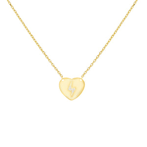 Mini CZ Lightning X Heart Necklace Gold - Adina's Jewels