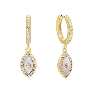 Mother of Pearl Evil Eye Huggie Earring Pearl White - Adina's Jewels