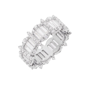 Mixed Stone Eternity Band Silver / 9 - Adina's Jewels