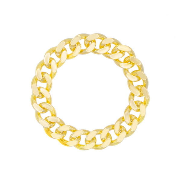 Gold / 8 Solid Cuban Chain Ring - Adina's Jewels