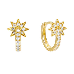 14K Gold / Pair Starburst CZ Huggie Earring 14K - Adina's Jewels
