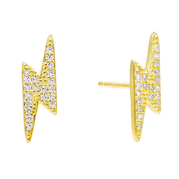 Gold Large Lightning Stud Earring - Adina's Jewels