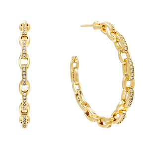 CZ Chain Hoop Earring Gold - Adina's Jewels