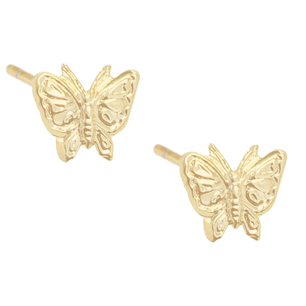 Solid Butterfly Stud Earring 14K 14K Gold / Pair - Adina's Jewels