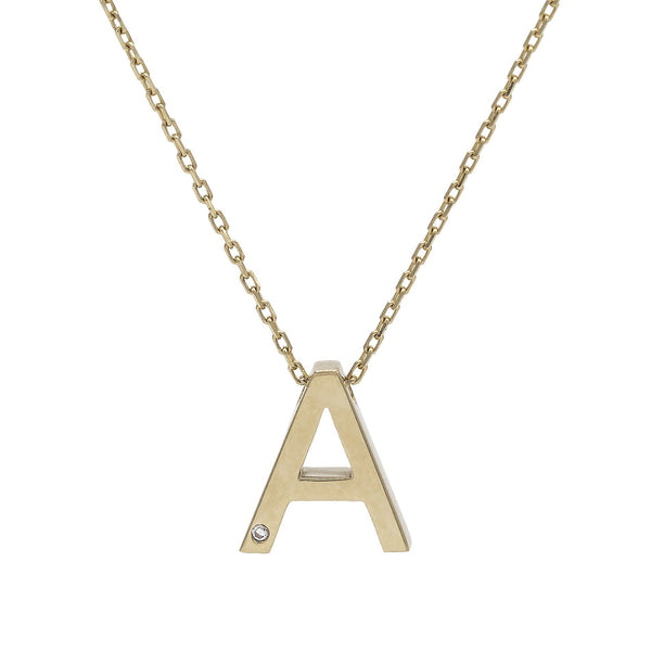 14K Gold / B Block Initial Necklace 14K - Adina's Jewels