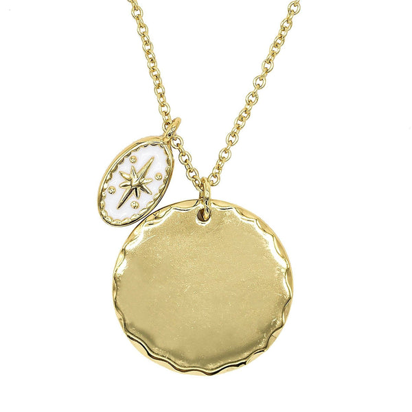 Gold Double Disc Necklace - Adina's Jewels