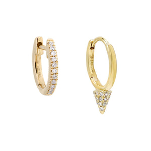 14K Gold Diamond Point Huggie Earring Combo Set 14K - Adina's Jewels