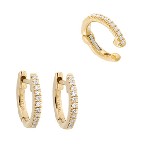 14K Gold Diamond Ear Cuff X Huggie Earring Combo Set 14K - Adina's Jewels