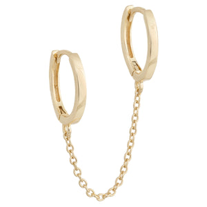 Gold Solid Double Chain Huggie Earring - Adina's Jewels