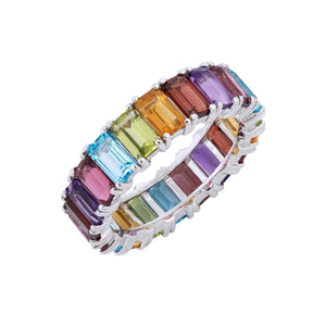 Rainbow Eternity Ring 14K - Adina's Jewels