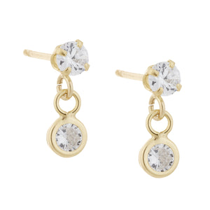 Solitaire Studs 14K 14K Gold - Adina's Jewels