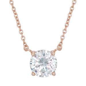 Rose Gold Solitaire Necklace - Adina's Jewels