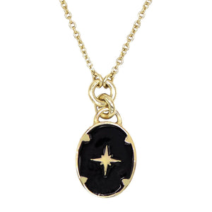 Black Enamel Starburst Necklace - Adina's Jewels