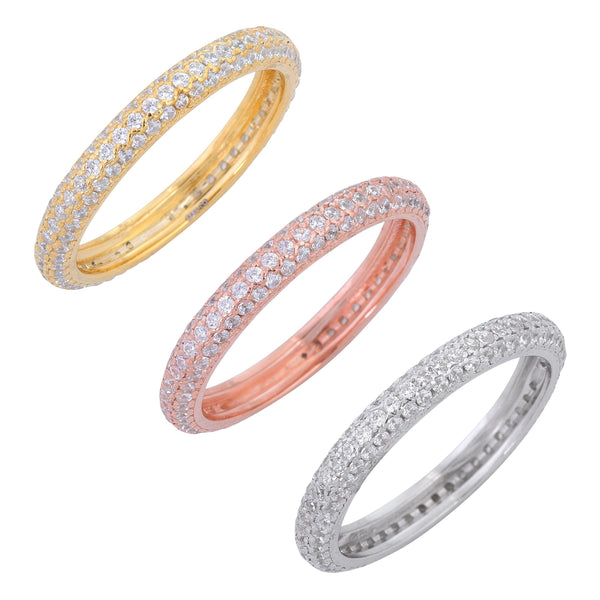 Multi-Color / 8 Trio Pave Rings - Adina's Jewels