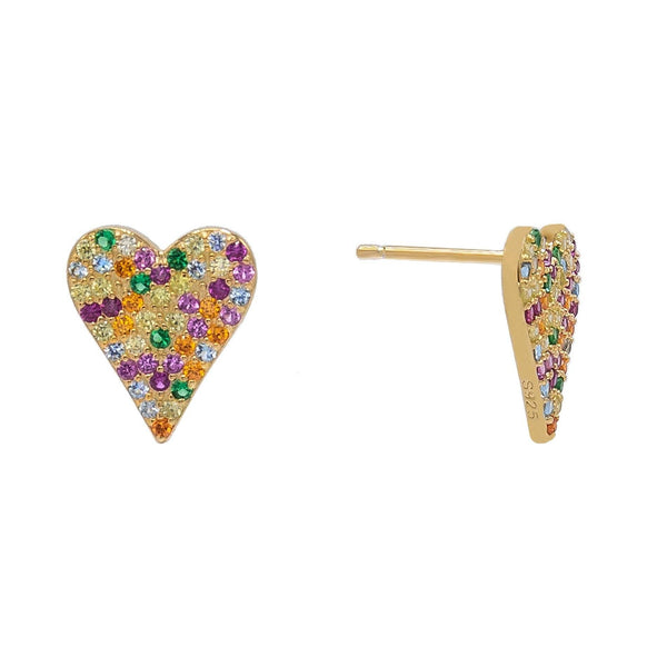 Multi-Color Heart Stud Earring - Adina's Jewels