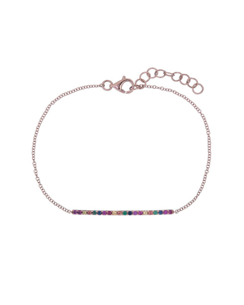 14K Rose Gold Rainbow Bar Bracelet 14K - Adina's Jewels