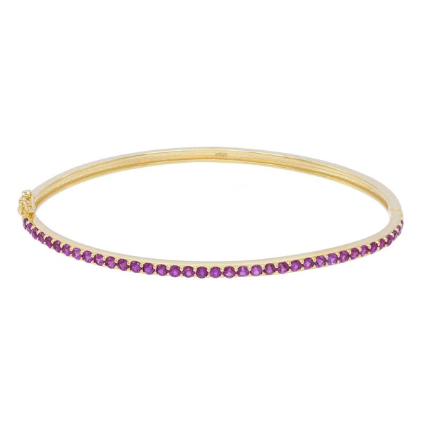 Magenta Pavé Thin Bangle - Adina's Jewels